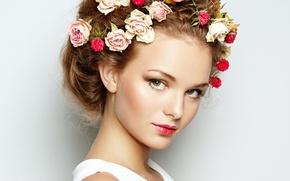 Картинка девушка, цветы, волосы, весна, макияж, красивая