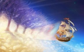 Картинка облака, свет, деревья, полет, рисунок, корабль, парусник