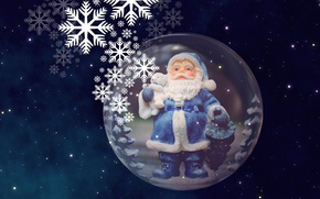 Обои небо, санта клаус, полет, новый год, звездное небо, прибытие санта клауса, рождество, фигурка, фон, сувенир, ...