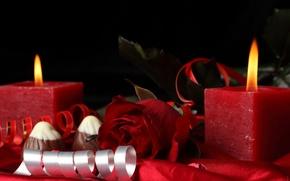 Обои цветы, роуз, сердце, свеча, roses, red rose