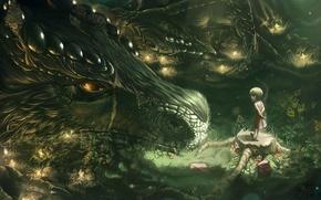 Картинка лес, фантастика, дракон, рисунок, девочка, fantasy, art