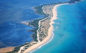 Обои море, вид сверху, Corfu, Греция, побережье