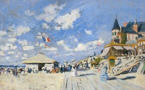 Картинка пейзаж, картина, Клод Моне, Дощатый Настин на Пляже в Трувиле