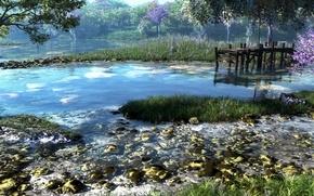 Обои лес, трава, деревья, природа, река, камни, причал, арт, klontak