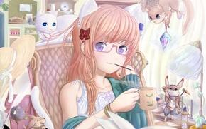 Обои девочка, белочка, очки, котик, неко, книга, аниме, ушки, зайчик, шляпка, бантик, кот, зверюшки