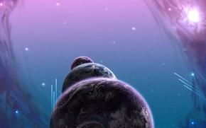 Картинка фиолетовый, космос, планеты, звёзды, кометы