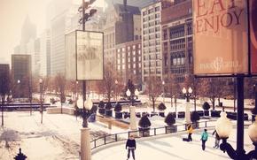 Картинка зима, city, люди, здания, небоскребы, каток, USA, америка, чикаго, Chicago, сша, центр города, illinois, cityfront ...