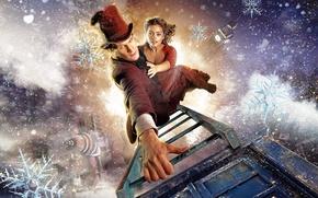 Doctor Who,Доктор Кто,Одиннадцатый Доктор,Matt Smith,Мэтт Смит,Дженна-Луиз Коулмэн,Jenna-Louise Coleman,лестница,шляпа,зима,рождество,сериалы обои