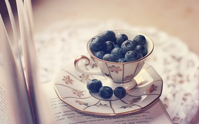 Картинка ягоды, чашка, книга, страницы, блюдце