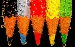 Картинка вода, пузырьки, цвет, воздух, карандаш