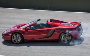 Картинка авто, дым, McLaren, Spyder, MP4-12C, спайдер