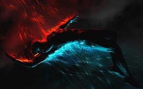 Картинка синий, красный, человек