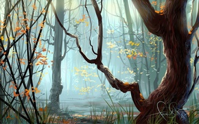 Картинка осень, лес, трава, деревья, арт