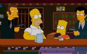 Картинка оружие, Симпсоны, бандиты, гомер, The Simpsons, бард