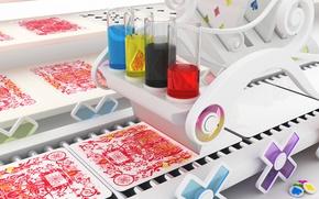 Обои красный, карты, цвета, краски, Special printing, узор, конвейер