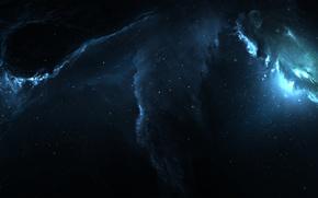 Картинка космос, свет, огни, пространство, сияние, тьма, свечение, звёзды, арт, space, light, бездна, nebula, art, glow, ...