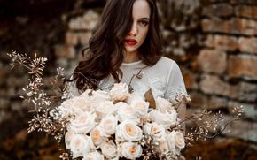 Картинка цветы, лицо, фон, волосы, розы, букет, помада