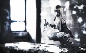 Картинка девушка, поза, нож