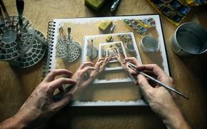 Картинка краски, руки, арт, художник, альбом, кисть, картинка, рабочее место, artist, hands, picture, погружение, album, paints, ...