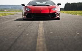 Картинка красный, red, авентадор, Lamborghini, ламборгини, Mansory, LP700-4, асфальт, Aventador, дорога, LB834, ламборджини