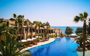Картинка море, пальмы, вид, Кипр, курорт, бассейн