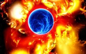 Картинка синий, красный, Космос, art