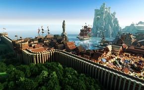 Картинка крыша, небо, вода, деревья, город, скала, дом, замок, стена, корабль, флаг, порт, залив, парус, гавань, …