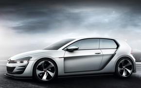 Картинка Concept, небо, фон, Volkswagen, автомобиль, Golf, GTI, Design Vision