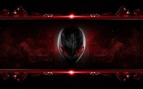 Картинка глаза, красный, голова, брэнд, alienware, иноплянетянин