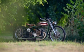 Картинка размытость, база, мотоцикл, стимпанк, аэрография, moto, bike, style, коллекция, custom, боке, steampunk, тяжелый, советский, rat, ...