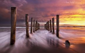Картинка пляж, небо, облака, Природа, вечер, выдержка, Новая Зеландия, южный остров