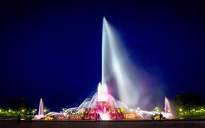 Картинка Чикаго, Chicago, центр, фестиваль огней, один из самых больших фонтанов в мире, Букингемский Фонтан, Грант-Парк, …