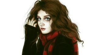 Картинка глаза, взгляд, девушка, волосы, шарф, арт