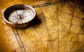 Обои компас, морской стиль, рабочий стол, карта