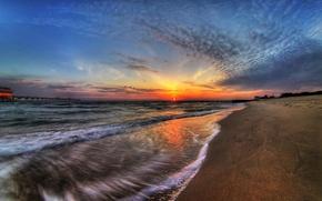 Обои море, побережье, закат