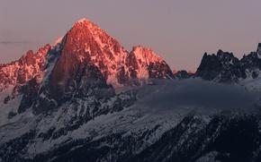 Обои облако, рассвет, горы