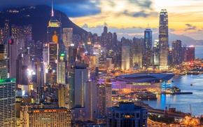 Обои Гонг Конг, огни, вечер, дома, Китай