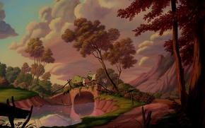 Картинка sky, trees, landscape, bridge, clouds, man, horse, Beauty and The Beast