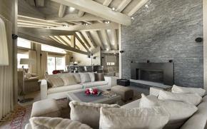 Картинка дизайн, фото, диван, интерьер, подушки, потолок, деревянный, камин