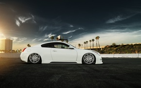 Обои g37, infiniti, car, tuning, low, stance, white