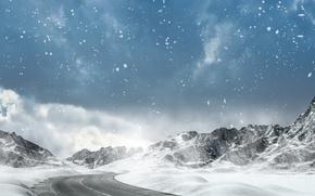 Картинка зима, дорога, небо, облака, снег, горы, снежинки, шоссе