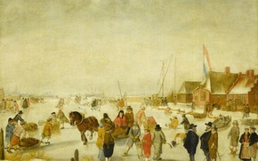 Картинка зима, люди, картина, жанровая, Барент Аверкамп, Развлечения на Льду