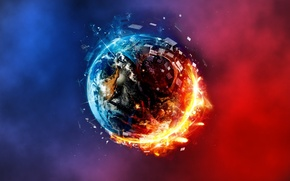 Картинка abstract, planet, fire and ice, red and blue