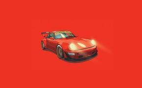 Картинка Porsche, Orange, Digital, Illustration, 993, RWB, Minimalistic
