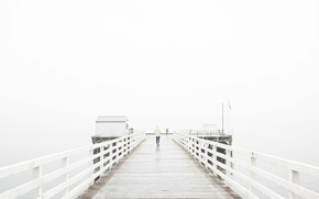 Картинка girl, wet, sea, ocean, fog, pier, mist, cloudy, deck, raining