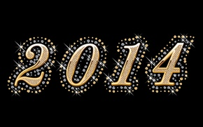 Картинка цифры, gold, год, glamour, luxury, 2014, diamonds
