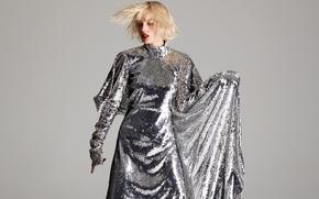 Картинка поза, фон, макияж, платье, актриса, прическа, блондинка, певица, Taylor Swift, Тейлор Свифт, блестящее, Vogue, шикарное, …