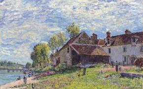 Картинка картина, пейзаж, мост, дома, люди, облака, небо, река, Alfred Sisley