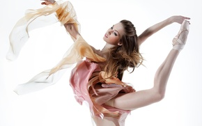 Обои взгляд, девушка, фон, танец, макияж, балерина