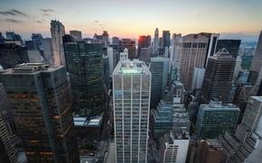 Обои закат, нью-йорк, New York City, usa, nyc, Midtown Manhattan, Sunset over